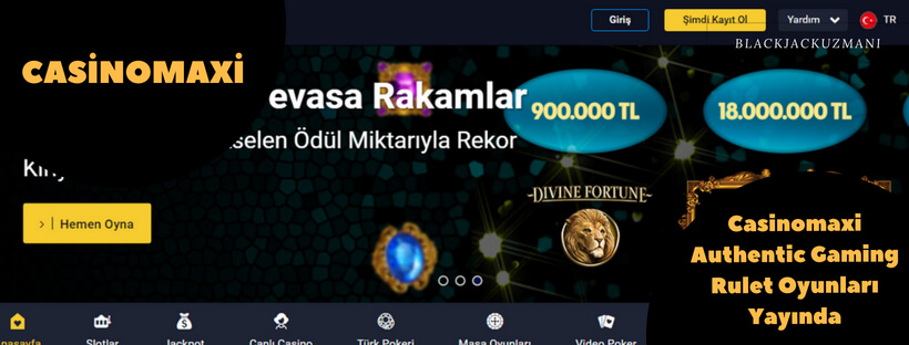 Casinomaxi Authentic Gaming Rulet Oyunları Yayında