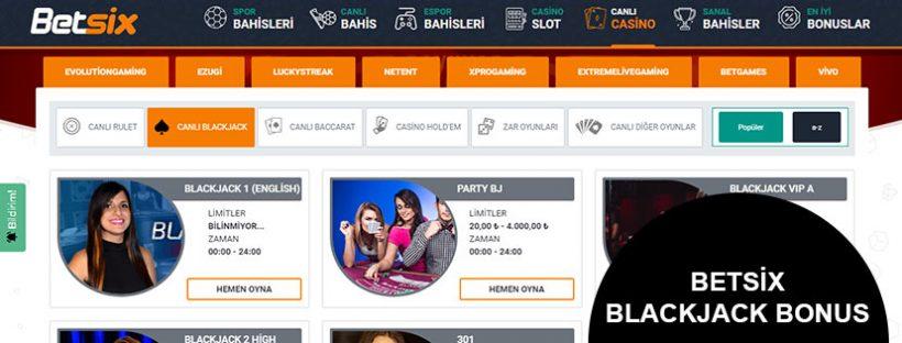 Betsix Blackjack Bonus